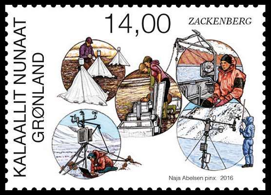 Stamps about Zackenberg Research Station in North East Greenland. Designed by Naja Abelsen. Released 17.10.2016. The motive shows the researchers at work, measuring each of their area: Climatebasis, Marinebasis, glaciobasis, geobasis, biobasis,  www.najaabelsen.dk