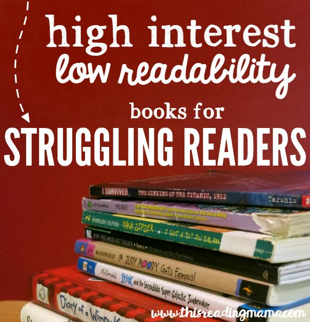 High Interest Low Readability Book List for Struggling Readers - This Reading Mama - good for 4th - 6th grade