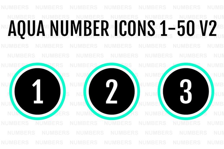Aqua Number Icons 1-50 v2 by Alfredoh on @creativemarket