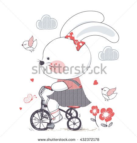 Bunny/hand drawn vector illustration of Cute Bunny girl Riding a Bicycle/Tricycle/can be used for kid's or baby's shirt design/fashion print design/fashion graphic/t-shirt/kids wear