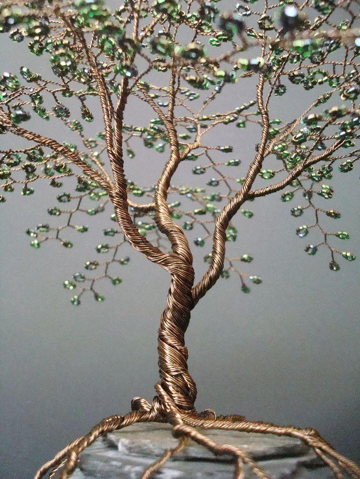 Metallic Olive Beaded Bonsai Wire Tree Sculpture @Talena Born Born Born Born Watts