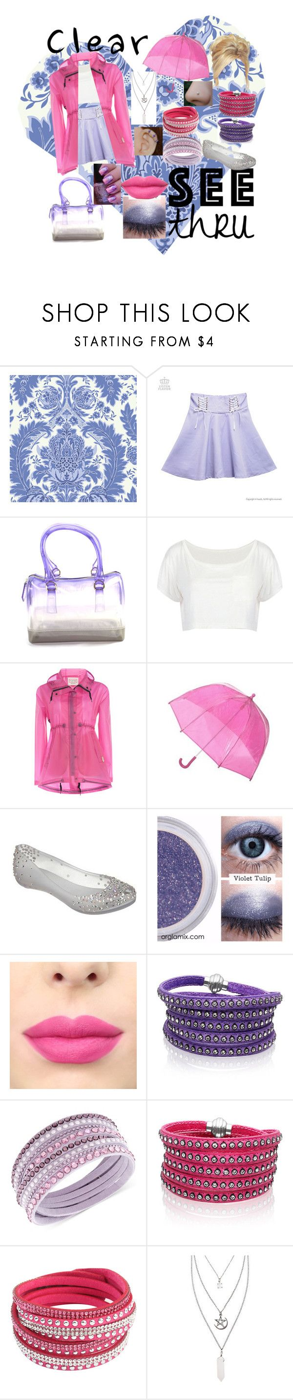 """""""Clear Pink & Purple"""" by mysticalwiccan ❤ liked on Polyvore featuring Cole & Son, Hunter, Melissa, Sif Jakobs Jewellery, Swarovski, Chicnova Fashion, clear and Seethru"""