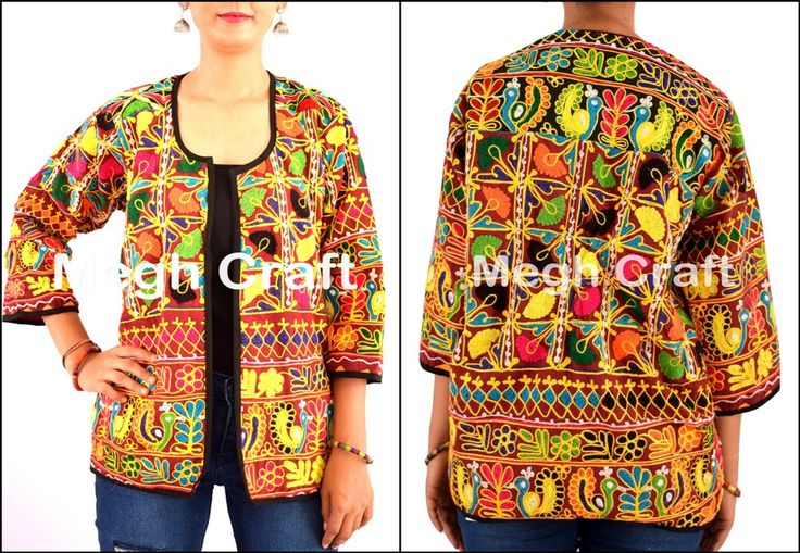 Embroidered Floral Jacket- Ladies Winter Jacket- Floral Embroidery Kashmiri Jacket-BY #meghcraft #craftnfashion #CraftsOfGujarat #indianethnicjewelry #IndianTraditionalJewelry Megh Craft - Indian Ethnic Jewelry
