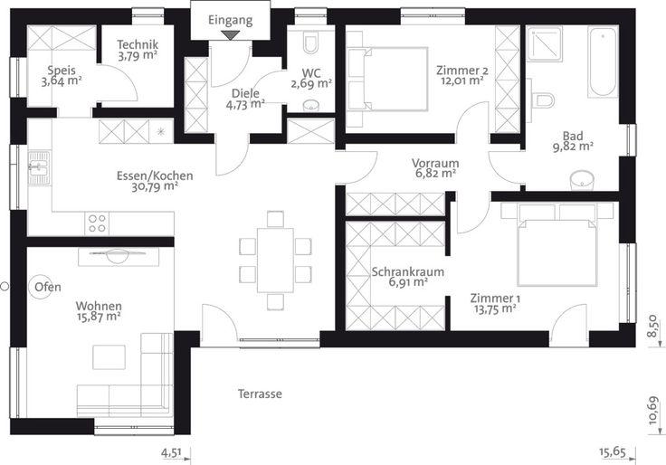 Flach 110 Der 110 m2 Malli Bungalow mit Flachdach