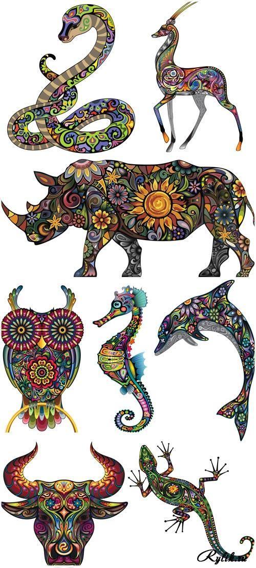 Змея, лань, носорог, сова, морской конек, дельфин, бык, ящерица
