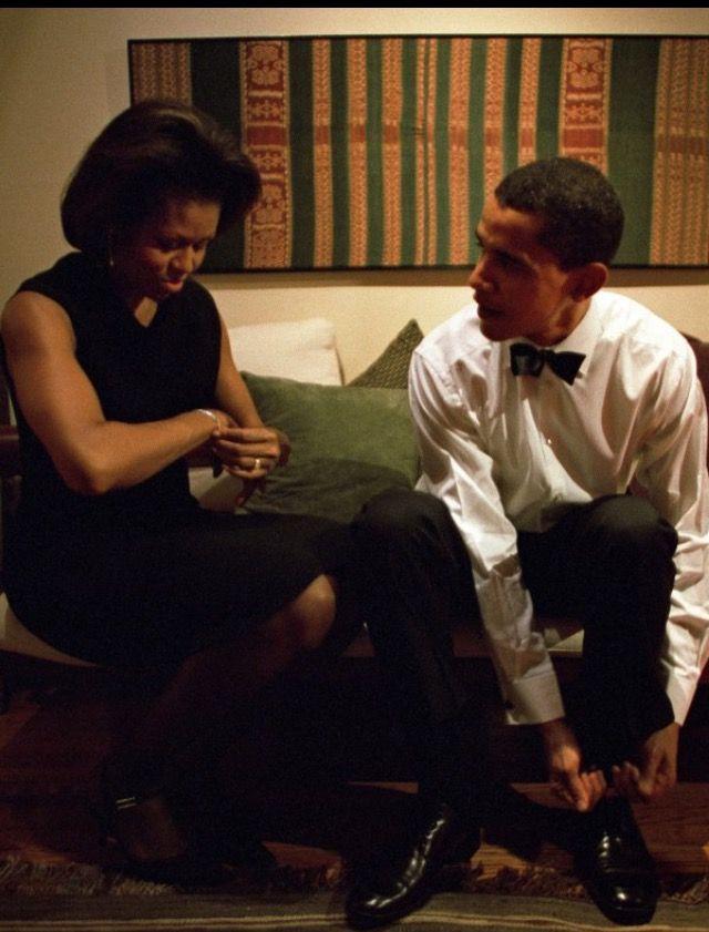 #44thPresident #BarackObama & #FirstLady #MichelleObama get ready to give the keynote address at the Chicago Economic Club at their home in Chicago on Dec. 8, 2004 #ObamaFamily #ObamaLegacy #ObamaHistory #ObamaLibrary #ObamaFoundation Obama.org