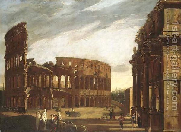The Colosseum and the Arch of Constantine from the West by Viviano Codazzi