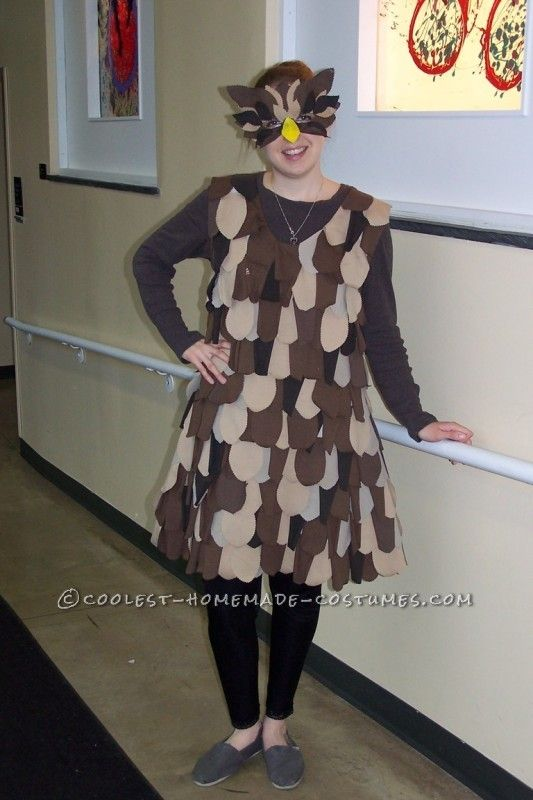 DIY Lady Owl Halloween Costume for ladies with bigger hips then a pillow case