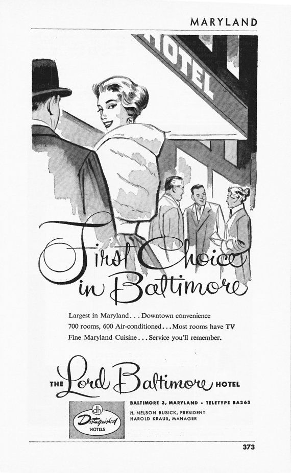1950s Hotel Advertisement - Lord Baltimore Hotel Baltimore Maryland - Vintage Antique Retro 50s Era Pop Art Ad for Framing 50 Years Old via Etsy