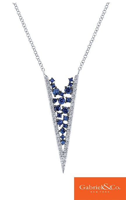 A stunning 14k White Gold Diamond and Sapphire Necklace by Gabriel & Co. is one of our favorites! Put this along with any V-neck top for a night out or special event. This perfect piece has such beautiful sapphire stones and diamonds that always look so flawless together.