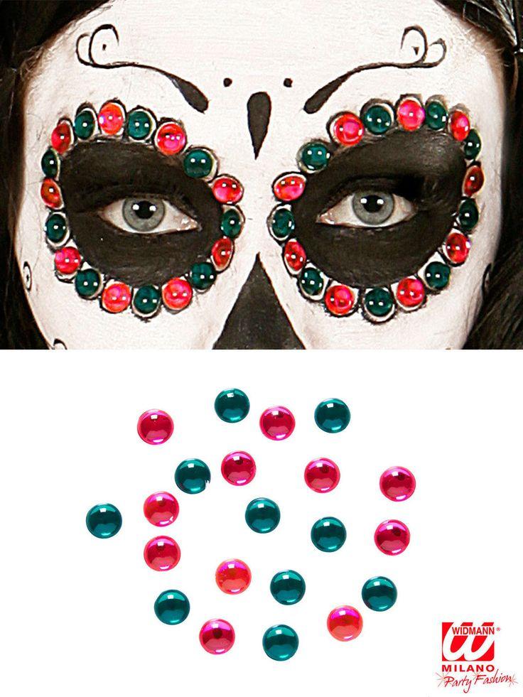 Tag der Toten Schmucksteine zum Aufkleben 40 Stück pink-grün 0,8cm. Aus der Kategorie Schminke & Make Up / Hautschmuck. Mit ein paar Schmucksteinen wird Ihr Tag der Toten-Make-Up zu einem echten Blickfänger und Sie können Halloween einmal aus ganz anderen (und viel bunteren) Augen betrachten!