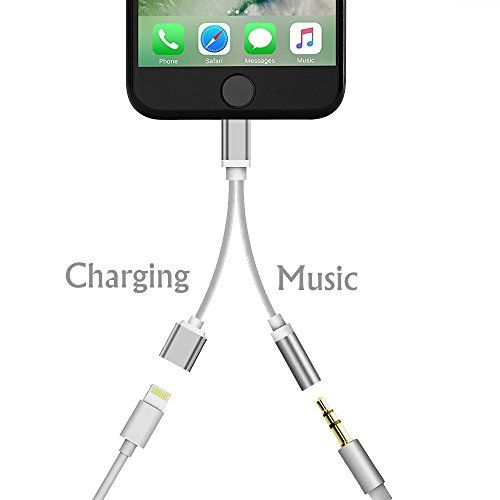 Lxyugg iphone 7 adapter(Compatible with IOS10.3)  2 in 1 Lightning Adapter and charger  3.5mm Earphones Jack Cable for New iPhone 7/7 plus (Silver)-No Music Control and Calling Function