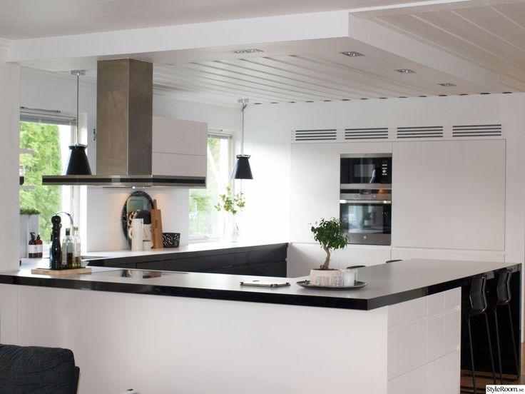 Öppen planlösning,kök,matplats,svartvitt,vitt. vitt svart,barstolar,brickor,isaform,stelton,integrerad kyl och frys