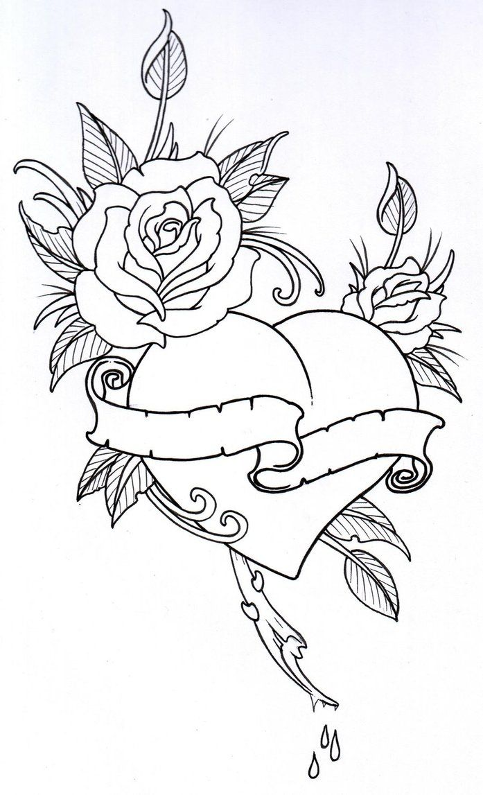Coloring book outlines - Roseheart Outline 1 By Vikingtattoo