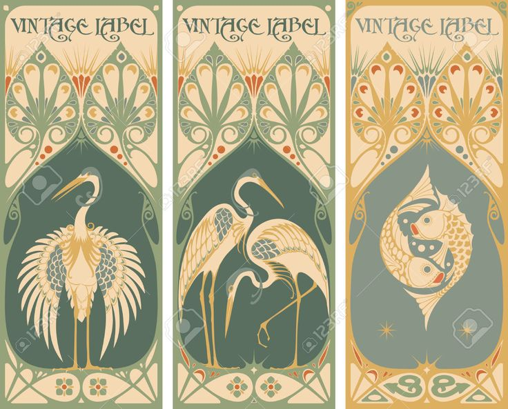 Art Deco Nouveau: Vintage Labels: Fish And Poultry Royalty Free Cliparts