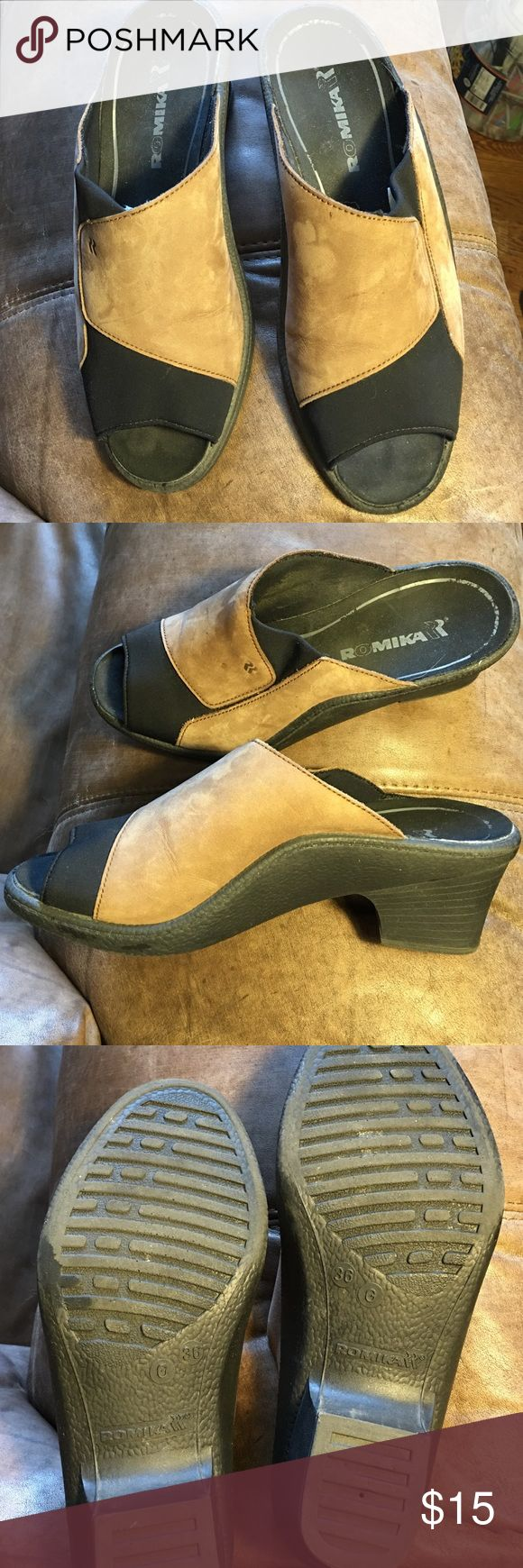 Romika Shoes size 36 Brown /Black Romika Shoes size 36 Brown /Black.  Has been worn once or twice.  Also have it in size 37.  Very comfortable Romika Shoes Wedges