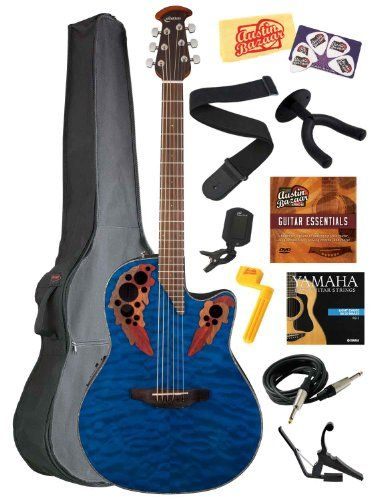 Ovation CE44P-8TQ Celebrity Elite Plus Mid-Depth Cutaway Acoustic-Electric Guitar Bundle with Gig Bag, Wall Hanger, Instrument Cable, Strings, Strap, Tuner, Stringwinder, Capo, Instructional DVD, Picks, and Polishing Cloth - Trans Blue Quilt Maple -- Read more reviews of the product by visiting the link on the image.