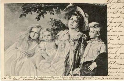 BU-F-01073-5-03387-1 Regina Maria. Principesa Marioara, principesa Elisabeta şi principele Carol al II lea, 1904.08.08 (niv.Document)