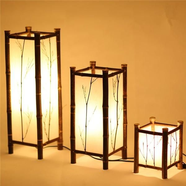Led Chinese Style Vintage Lamp Bamboo Light Indoor Lighting Home Decorative Design Lantern E27 Japanese Bamboo Floor Lamp Hotel Bamboo Floor Lamp Bamboo Lamp Bamboo Light