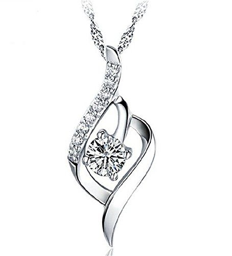 925 Sterling Silver Statement Crystal Pendant Necklace for Women Fashion Jewelry Accessories - The Ultimate Shopping Portal