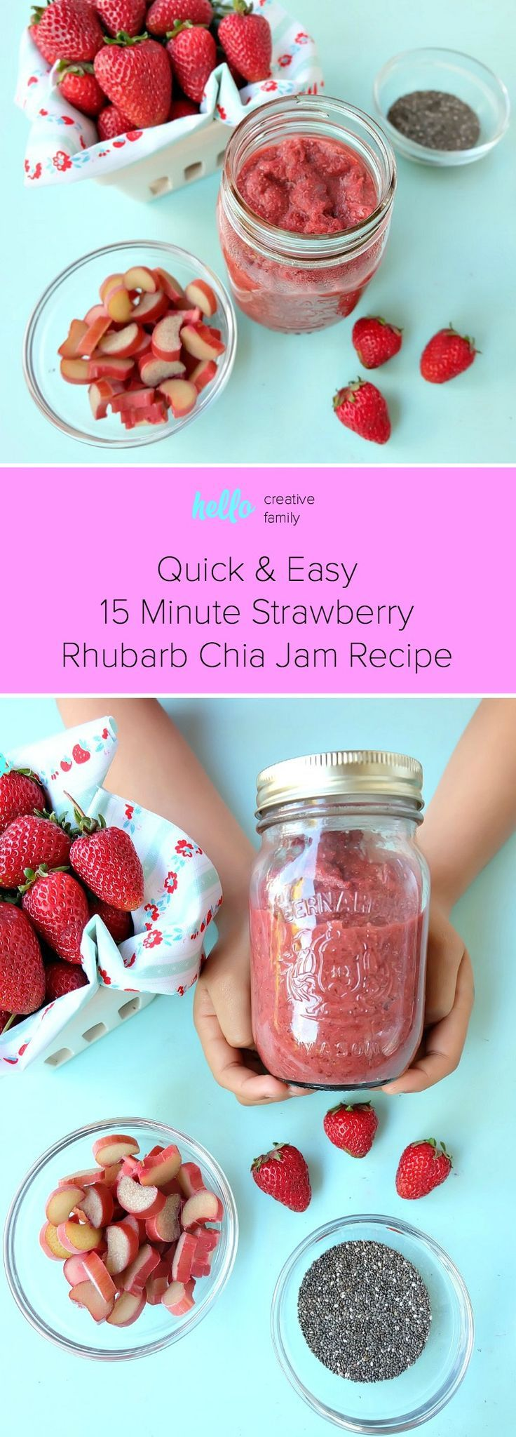 Quick and Easy 15 Minute Strawberry Rhubarb Chia Jam Recipe