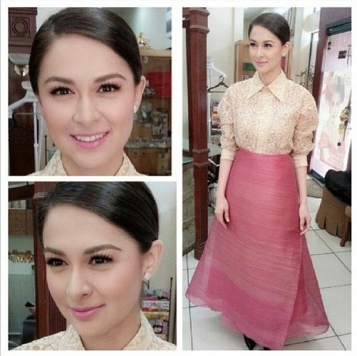 printed Barong is from Joey Samson and the skirt is from Dita Sandico Ong  Marian Rivera was launched as the Ambassador for Women & Children with Disabilities 2014