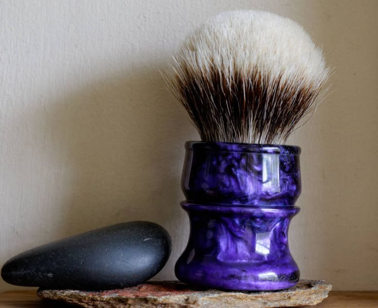 Large Shaving Brush - Black Blue and Purple Resin Handle Hand-Made with Two Band Finest Badger Knot by LoveYourShave on Etsy
