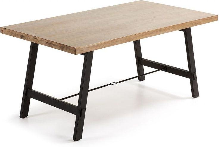 Tafel Tiva - Eettafel - Acaciahout - Bruin - Zwart - 90x160 - Kavehome