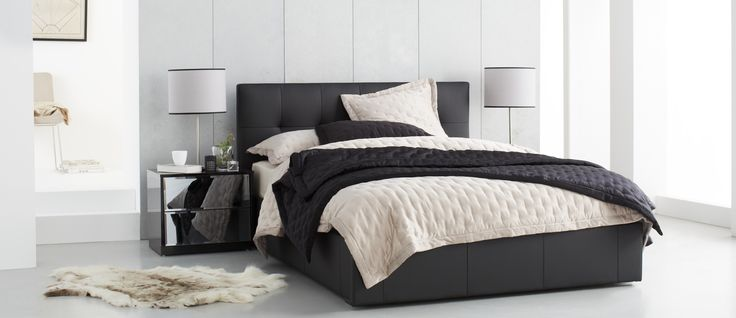 Rialto Bedroom Furniture (Black) - A contemporary design, finished in PU leather look material, with a soft hand feel. Large canyon drawer on the footend for convenient storage. 1 year warranty. *Mattress sold separately*