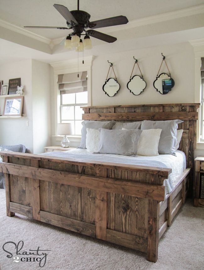 King Size Bed by Shanty2Chic Free Woodworking Plans. I know my boyfriend would love a bed like this!