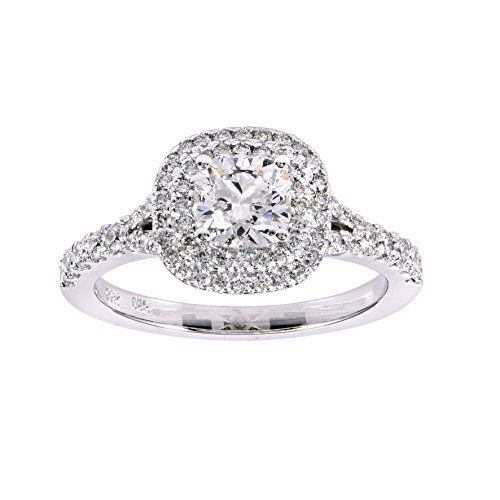 1.25 carats total weight diamond double halo engagement ring. Size 7. IGI USA certified. Color G-H. Clarity I1. Polish - very good to good. Symmetry - very good to good. 14K white gold. Estimated reta...
