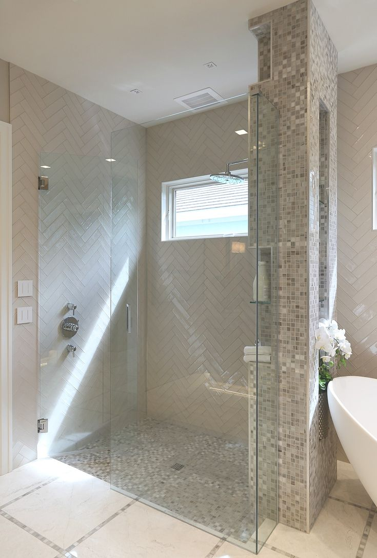 Modern large walk in shower. The open wall between the tub could be between toilet and shower in florida