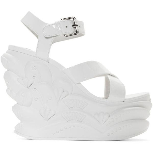 Miu Miu White Wave Wedge Sandals (1,080 CAD) ❤ liked on Polyvore featuring shoes, sandals, white, ankle wrap sandals, wedge sandals, platform sandals, ankle strap platform sandals and ankle tie wedge sandals