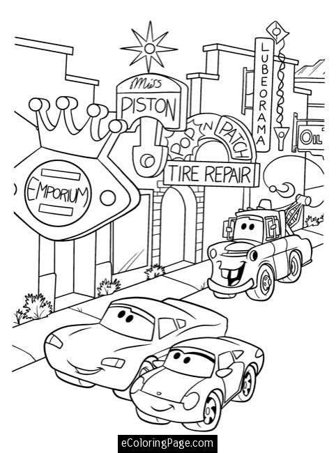 Disney Cars Mater Sally Lightning McQueen Coloring Pages