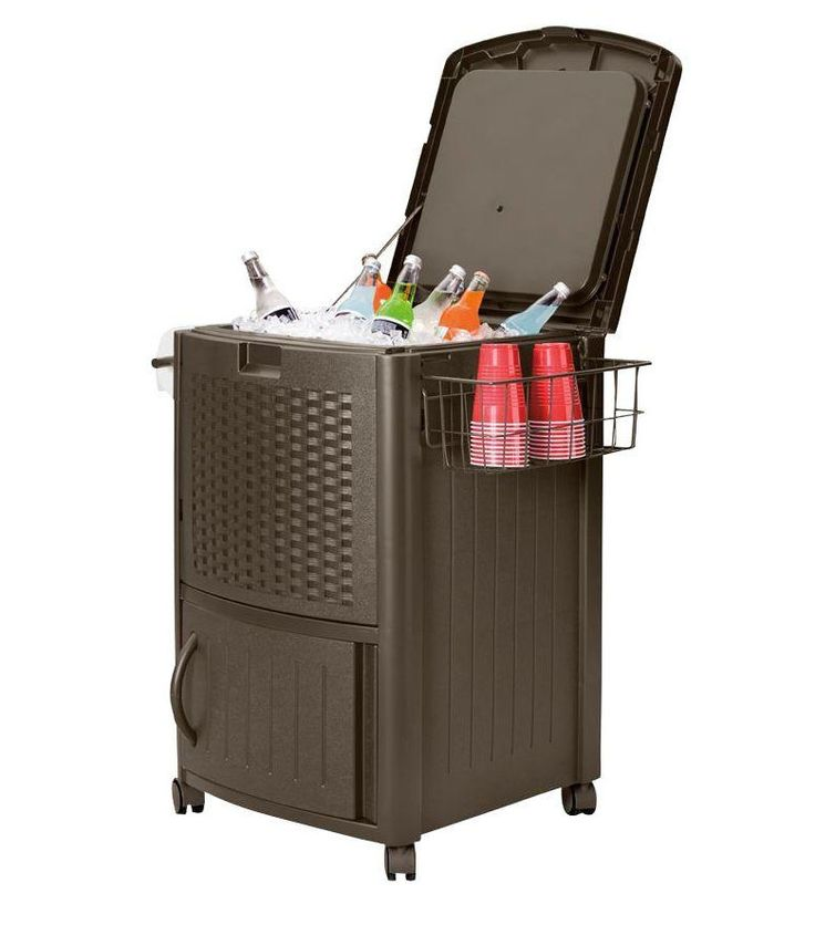 Suncast Resin Wicker Cooler Cabinet Outdoor Portable Wheeled Ice Chest DCCW3000 #Suncast