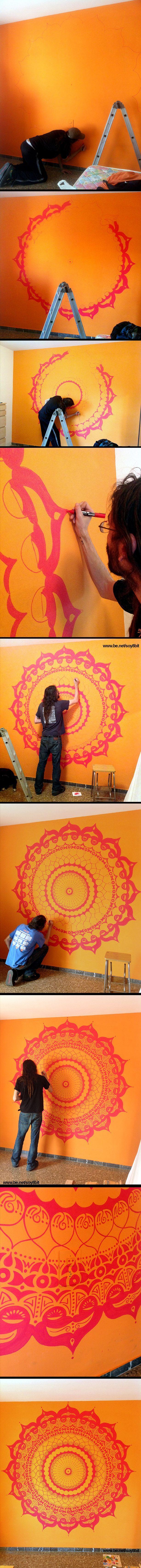Mandala Wall Painting by Héctor Sánchez www.be.net/soy8bit: