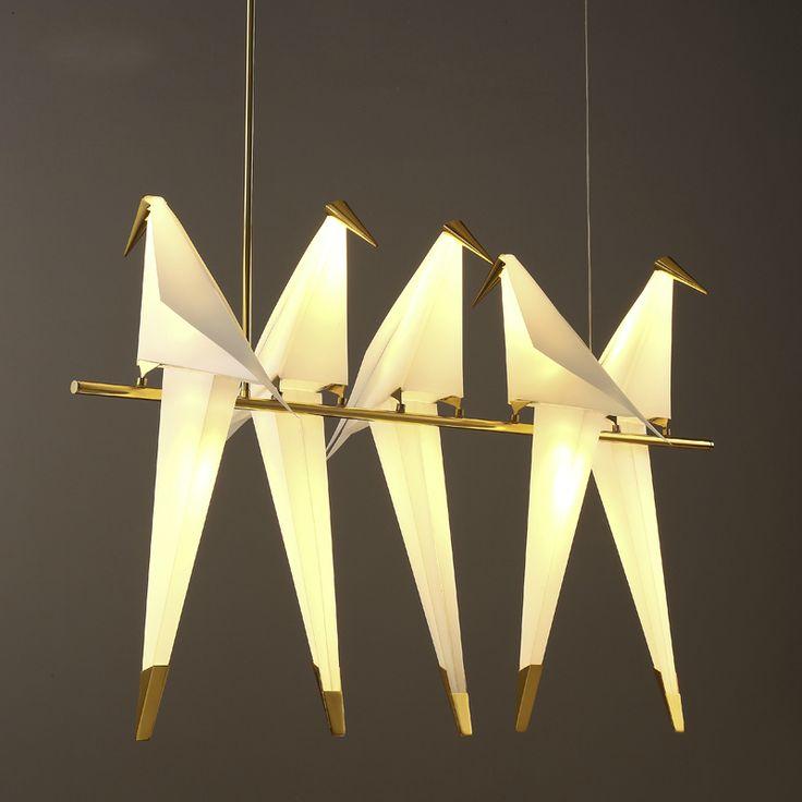 Papercranes Pendant Lamp Post Modern Creative Design 1/2/3/5/6 Head Bird Light Northern Europe Restaurant Bar Store Hotel Club