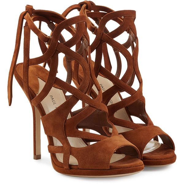 Paul Andrew Ella Suede Sandals ($895) ❤ liked on Polyvore featuring shoes, sandals, heels, brown, scarpe, heeled sandals, brown high heel sandals, hippie sandals, brown heeled sandals and suede sandals