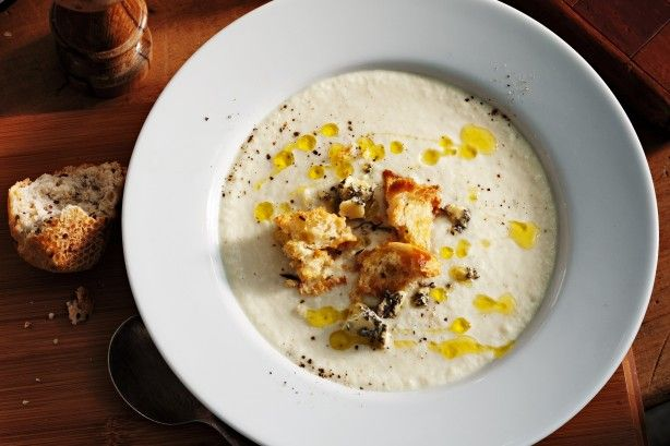 A light, crisp lager adds extra zing to this creamy soup finished with blue cheese.
