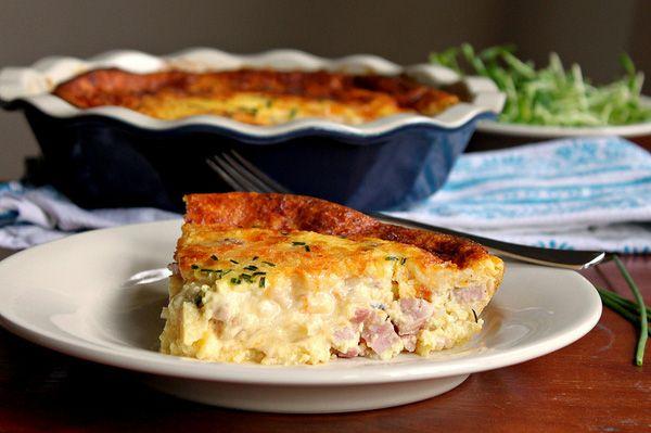 Ham, cheese and onion crustless quiche