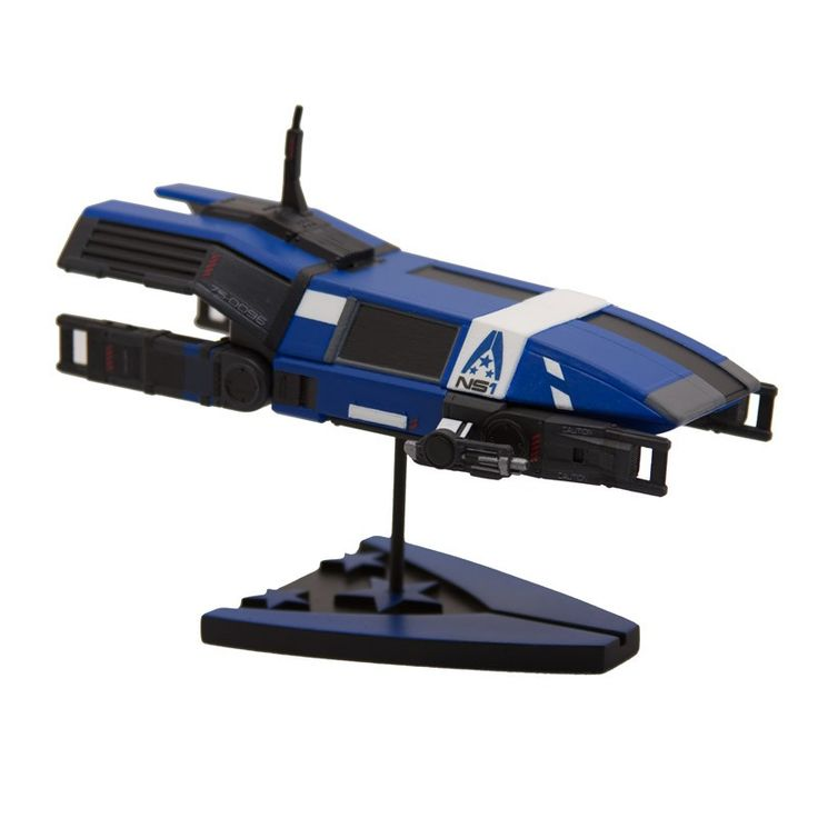 """The Systems Alliance represents humanity's economic, political, and military reach throughout the galaxy. The Systems Alliance drop shuttles, nicknamed """"combat cockroaches,"""" can carry up to fourteen people, including a pilot and copilot. They have minimal weaponry in favor of stealth masking systems. 6.25"""" long and 3"""" wide, on a custom base."""
