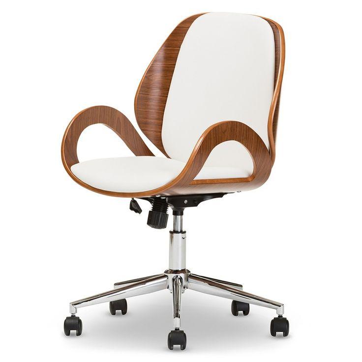 Watson Modern and Contemporary Office Chair - WhiteWalnut Brown - Baxton Studio, White