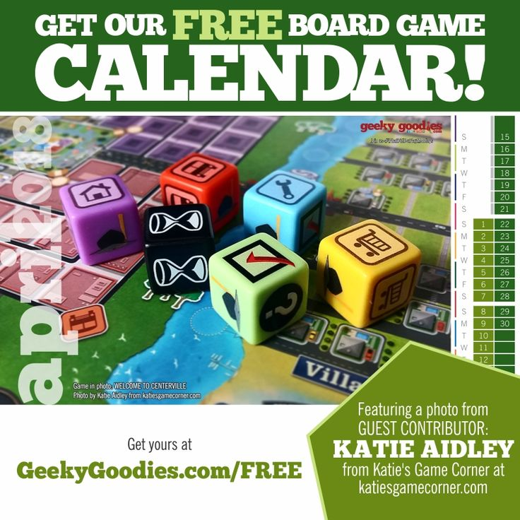 Get your FREE Board Game Calendar! Available now on our FREE STUFF page!  https://www.geekygoodies.com/free     This month's Calendar features a guest contributor: Katie Aidley from Katie's Game Corner at katiesgamecorner.com. Please follow her on Twitter @katiesgamecrner