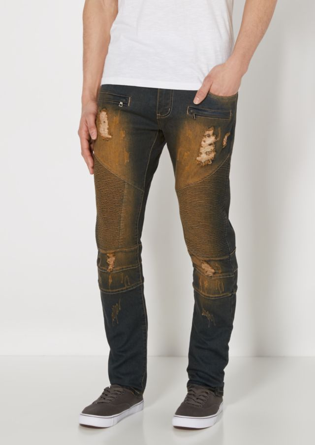 image of Destroyed Dirty Washed Moto Jean
