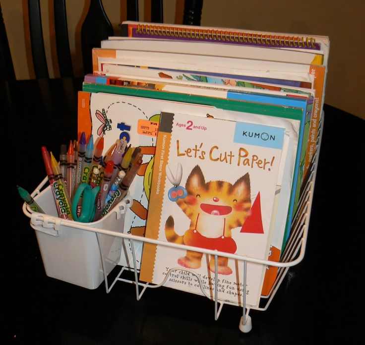 Dish drain used for coloring book storage. Create a cheap, neat and easy coloring station!  (Also at http://www.apartmenttherapy.com/the-weeks-top-family-posts-january-14---18-2013-182928)