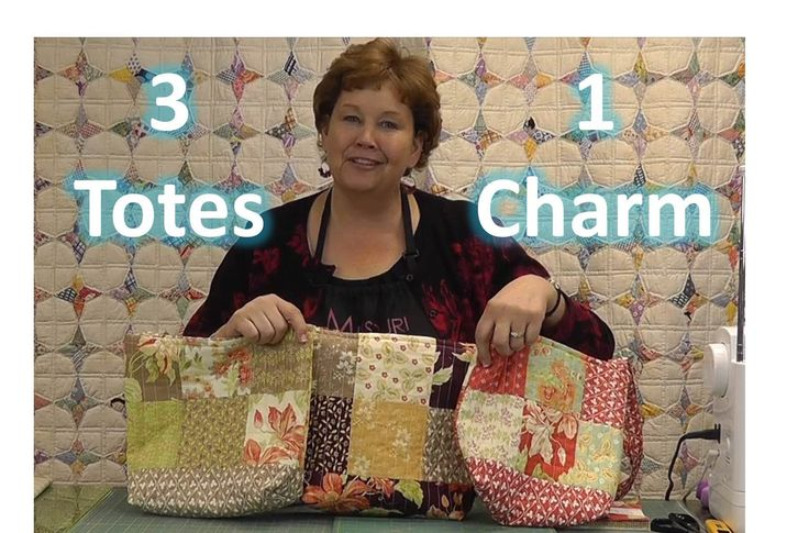 Make Three Totes / Purses With One Charm Pack! Video tutorial by Jenny Doan with Missouri Star Quilt Company. Love her! She makes everything so much easier.