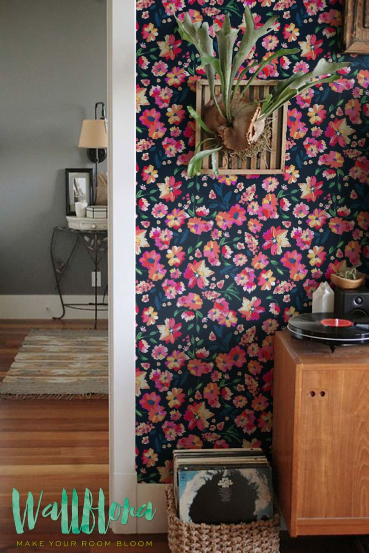Painted Colorful Flower Patter Wallpaper | Removable Wallpaper | Painted Wall Decal | Pink Flower Wall Sticker | Colorfull Self Adhesive Wallpaper