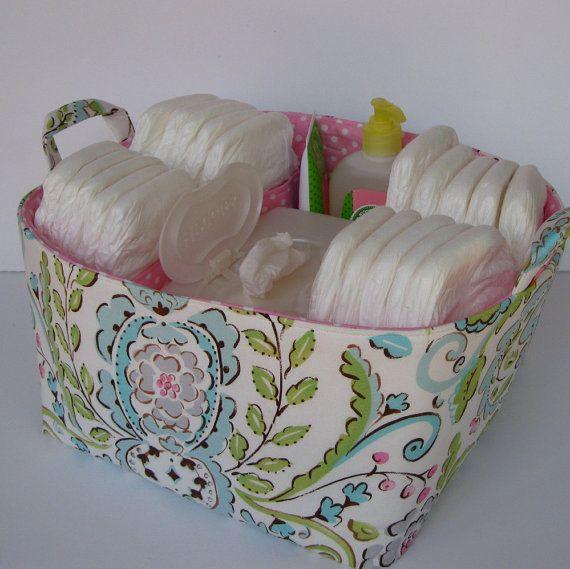Diaper Caddy  Fabric Organizer Storage Bin Basket  by BaffinBags, $52.00