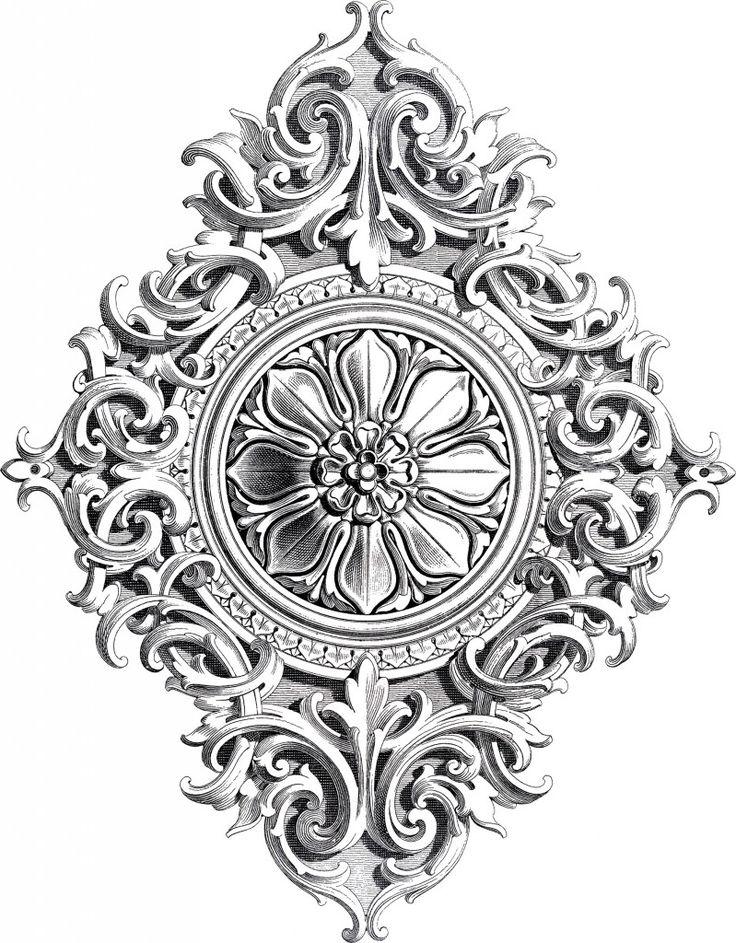 Amazing Antique Rosette Scrolls Ornament! - The Graphics Fairy