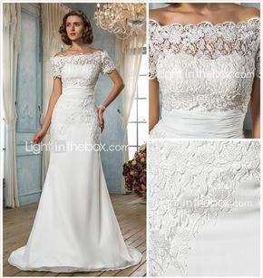 Vestido de Boda - Clásico y Atemporal/Glamouroso - Corte Sirena - Sobre el Hombro - Barrida (Gasa/Encaje) - MXN $ 3,043.63